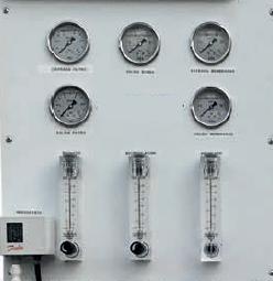 painel de instrumentação de sistema de osmose inversa