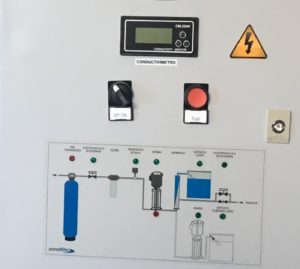painel sinóptico de funcionamento de sistema de osmose inversa